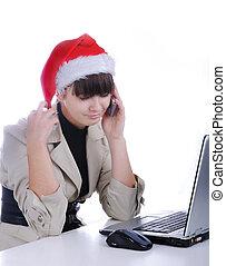 claus, komórka, piękny, -, święty, mówiąc, telefon, kapelusz, kobieta handlowa, pracujące biuro