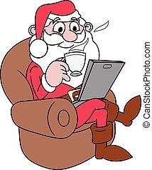 claus, laptop, santa