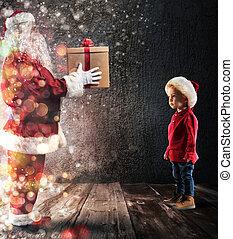 claus, liefern, santa, geschenk, kind