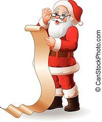 claus, lijst, lang, kadootjes, kerstman, lezende