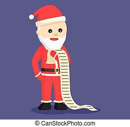 claus, lijst, lezende , kerstman