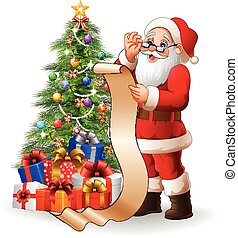 claus, lista, largo, regalos, santa, lectura