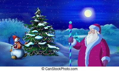 claus, lumières arbre, santa, nuit, éclairé par la lune, noël
