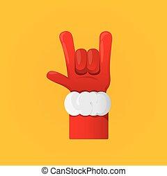 Claus, mão, vetorial,  santa, rocha,  n, rolo, ícone