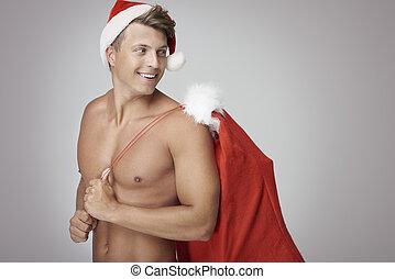 claus, man, kerstman, zak, vasthouden, sexy