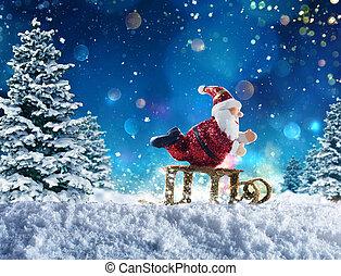 claus, marionet, sneeuw, kerstman