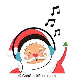 claus, musique écouter, santa, icône