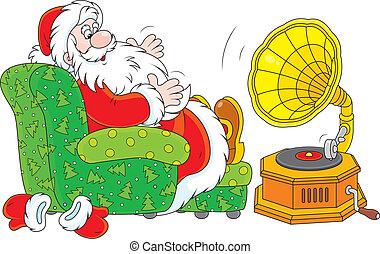 claus, musique, santa, écoute
