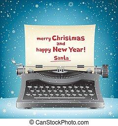 claus, neige, santa, machine écrire