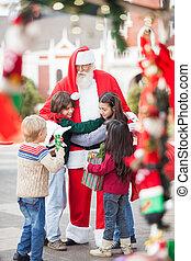 claus, niños, santa, se abrazar