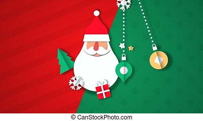 claus, noël carte, vidéo, papercut, santa, joyeux