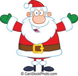 claus, openen armen, kerstman