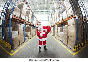 claus, -part, santa, chaîne, fourniture