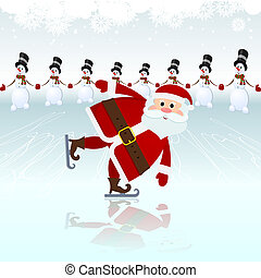 claus, patinage, santa, glace