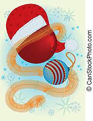 Claus, pelotas, sombrero, navidad,  santa