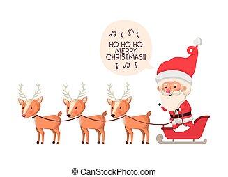 claus, personagem, rena, avatar, santa, sleigh