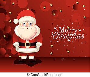 claus, plano de fondo, alegre, letras, icono, rojo, santa, navidad