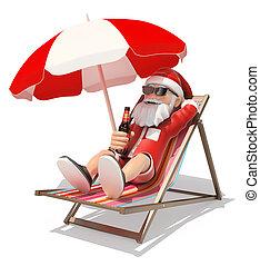 claus, playa, sol, santa, 3d