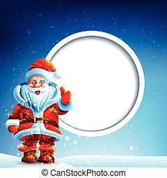 claus, polegares, neve, santa, cima