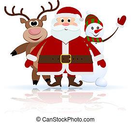 claus, pupazzo di neve, renna, santa, ghiaccio