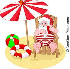 claus, relaxante, praia, santa