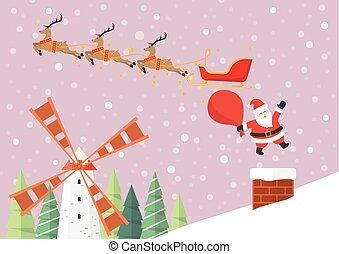 claus, rena, pular, santa, sleigh, chaminé