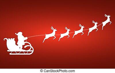 claus, renne, harnais, santa, tours sleigh