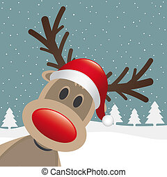 claus, renne, nez, santa chapeau, rouges