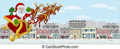 claus, rue, santa, traîneau, scène neige, noël