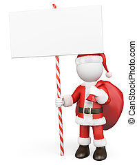 claus, santa, 人们。, 空白, 手, 3d, 白色