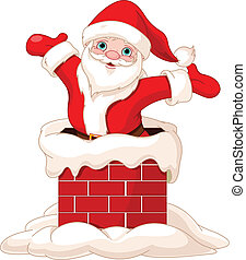 claus, santa, 烟囱, 跳跃