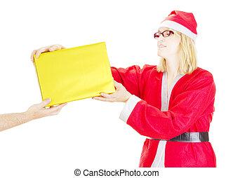 claus, santa, 贈り物, 得ること
