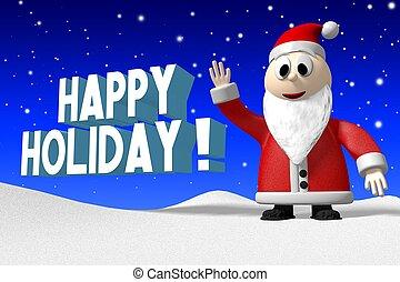 claus, -, santa, 3d, holiday!, glücklich