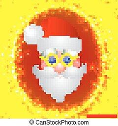 claus., santa, amarela, ilustração, luminoso, vetorial, colors., fundo, feriado, natal, vermelho, illustration.