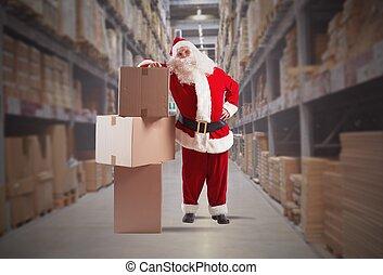 claus, santa, courrier