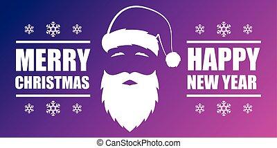 claus., santa, desenho, feliz, ano, novo, bandeira, cartão natal, feliz