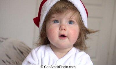 claus, santa, dorlotez fille, chapeau, rouges