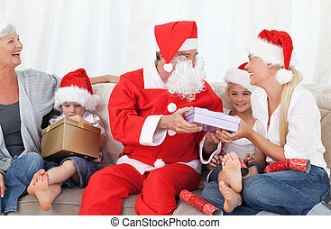 claus, santa, famille, heureux