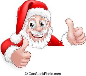 claus, santa, guckend, auf, daumen, weihnachten, karikatur