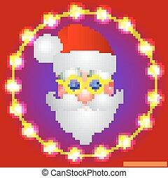 claus., santa, ilustração, luminoso, vetorial, colors., fundo, feriado, natal, vermelho, illustration.