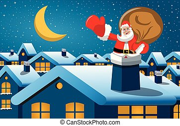 claus, santa, noturna, natal, chaminé, feliz