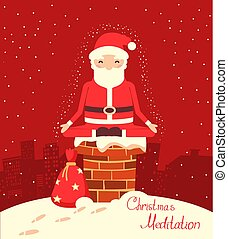 claus, santa, nuit, méditation, noël, cheminée