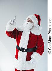 claus, santa, pointage doigt
