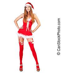 claus, santa, roupas, natal, mulher, vermelho