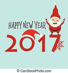 claus, santa, saudação, ilustração, vetorial, feliz, ano, novo, 2017, cartão natal, feliz