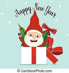 claus, santa, saudação, ilustração, vetorial, feliz, ano, novo, cartão natal, feliz