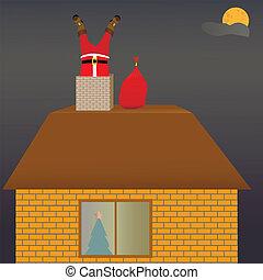 claus, santa, telhado