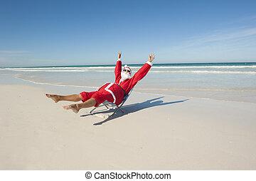 claus, santa, v, 休日, 浜, クリスマス