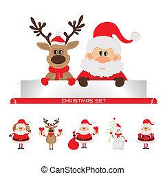 claus, satz, weihnachten, santa
