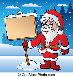claus, scène, kerstman, plank